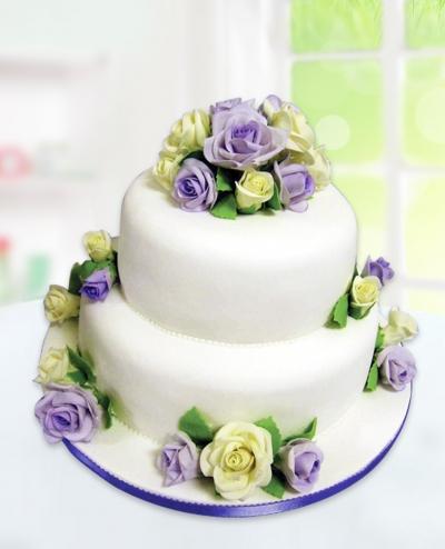 İki Katlı Güllü Düğün Pastası