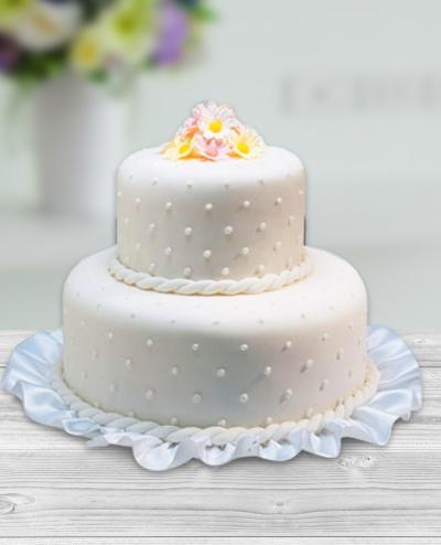 İnci Dekorlu Düğün Pastası