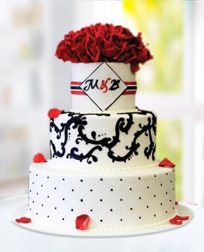 Kırmızı Beyaz Düğün Pastası